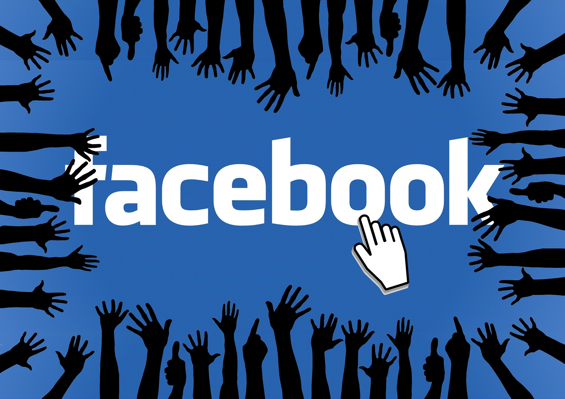 Facebook logo with hands reaching for it